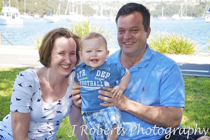 Family portrait of parents with little boy - family portrait photography sydney