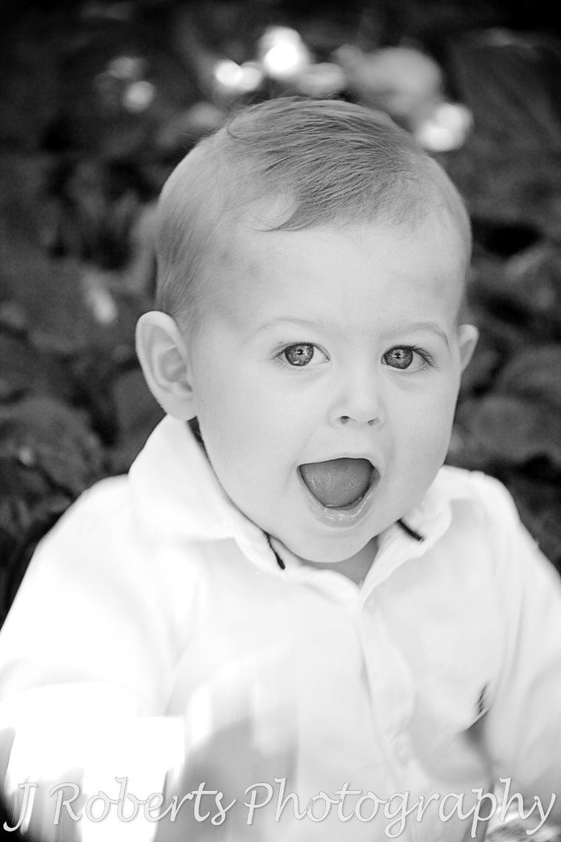 B&W portrait of a little boy - family portrait photography sydney