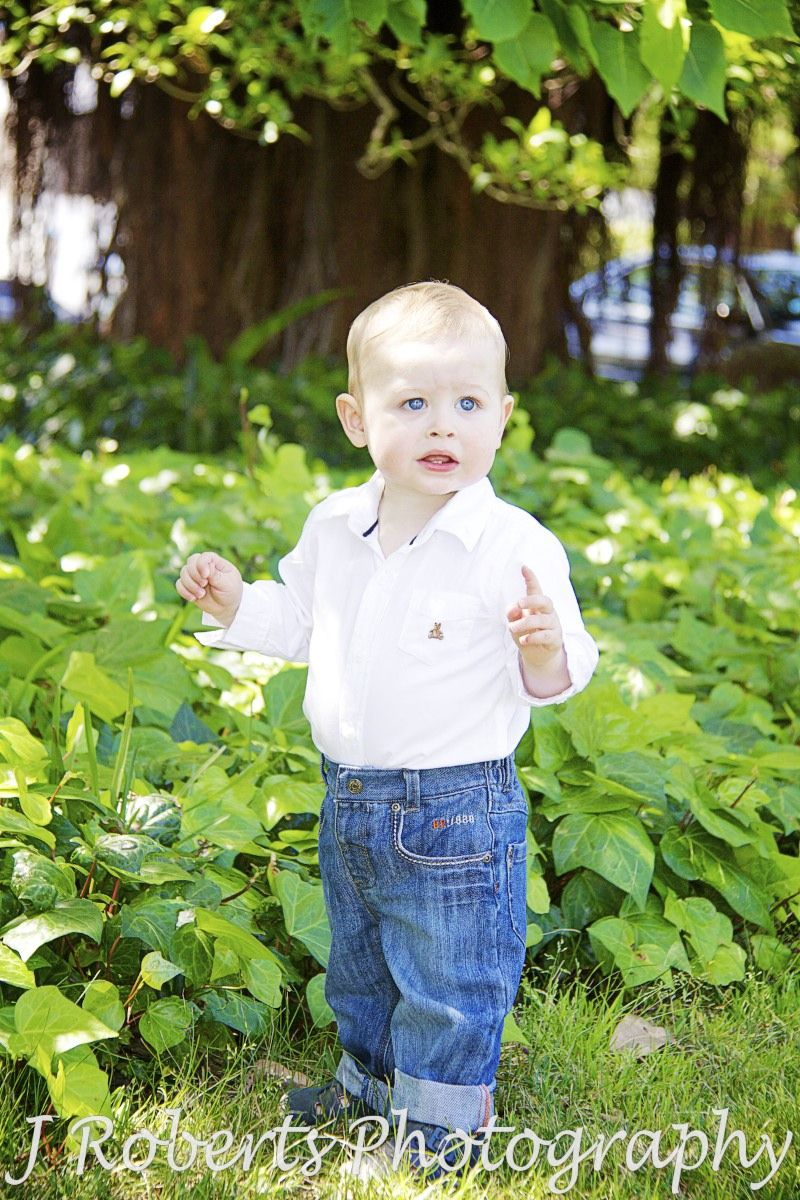 Little boy in white shirt and jeans - family portrait photography sydney