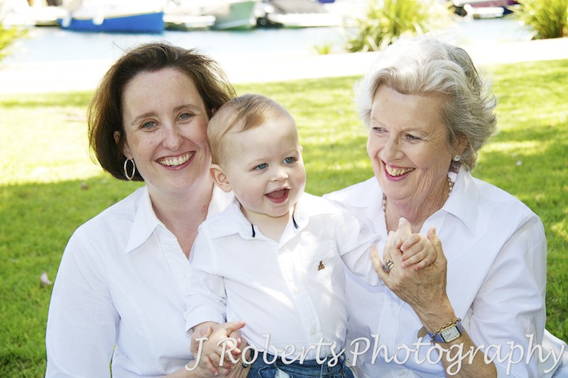 Little boy with his mother and grandmother - extended family portrait photography sydney
