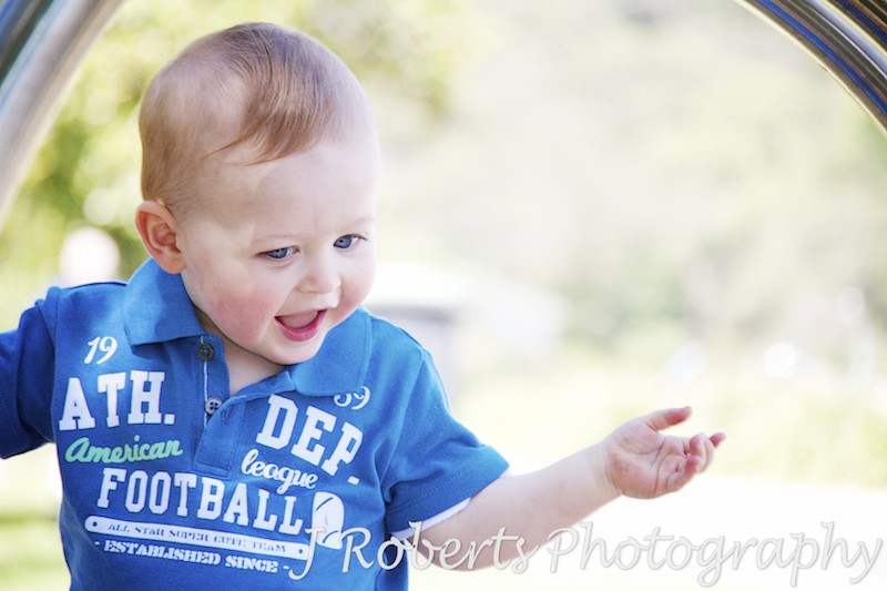 Little boy playing at park - family portrait photography sydney