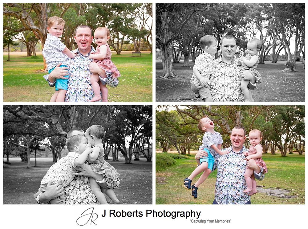 Extended Family Portraits Centennial Park Sydney in the Early Morning Smokey Light