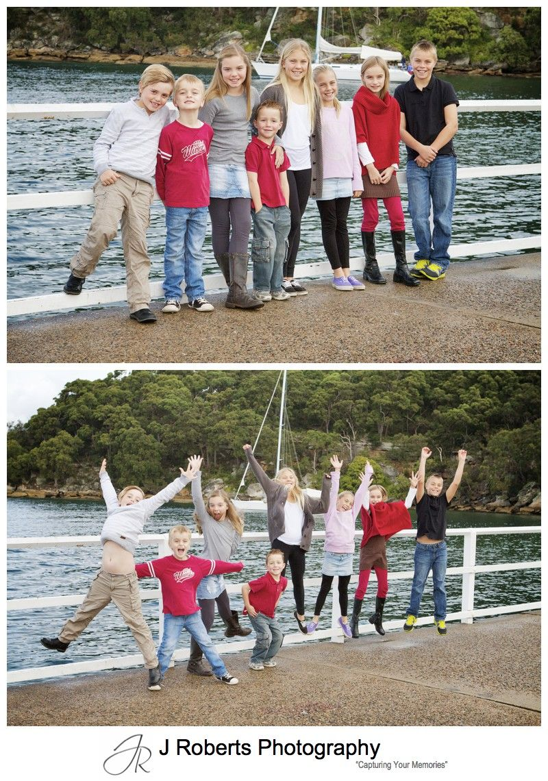 8 cousins jumping for extended family portrait photograph - sydney family portrait photographer