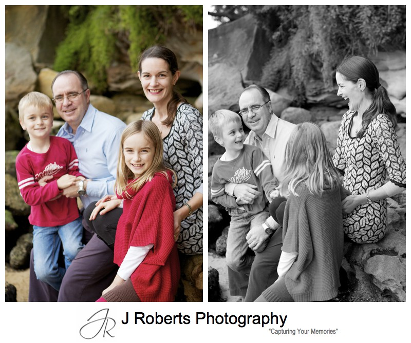 Fun family portrait with parents and 2 children - sydney family portrait photography
