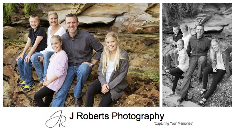 Family of 5 portrait on a beach in mosman - sydney family portrait photography