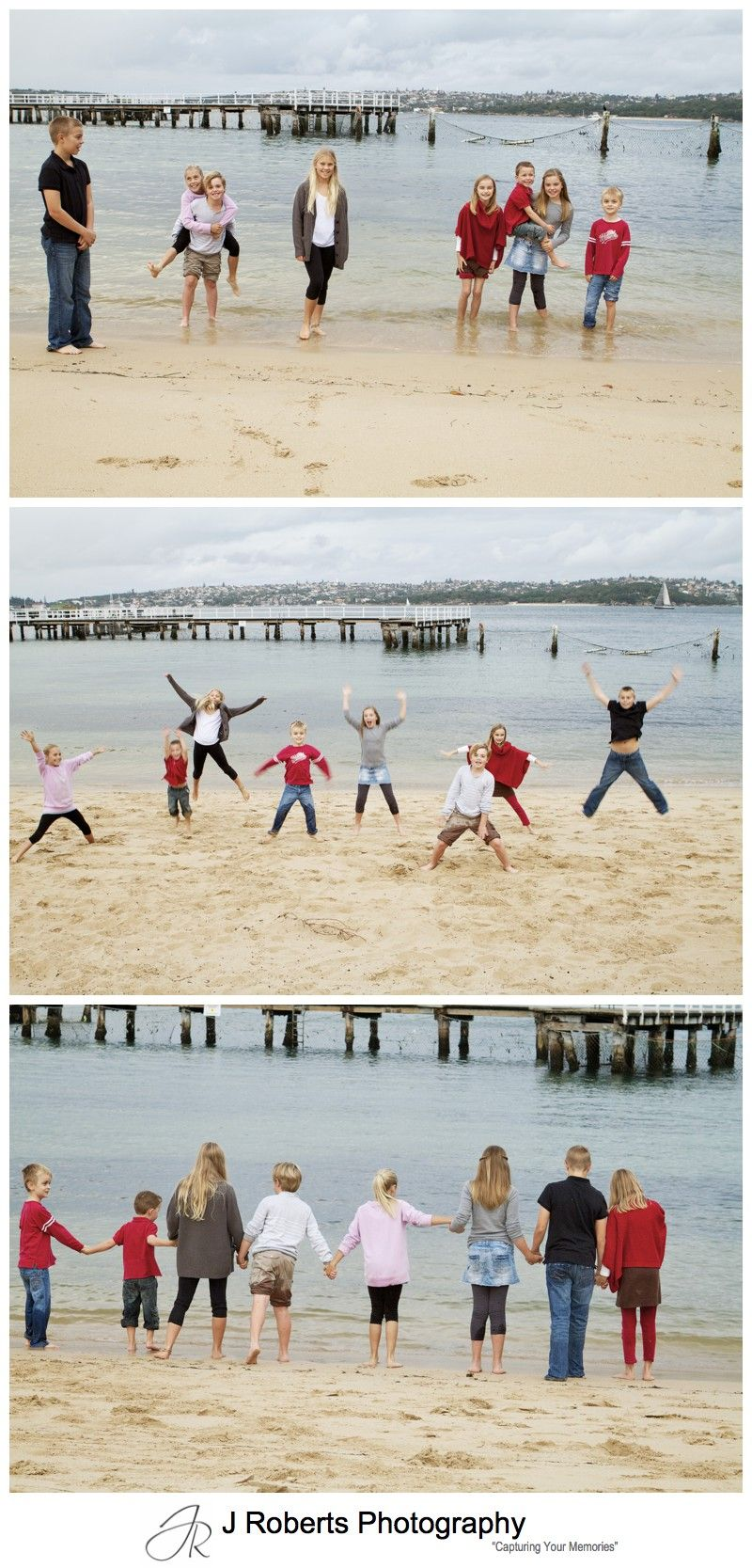 Kids being crazy on Clifton Gardens Beach - sydney family portrait photography