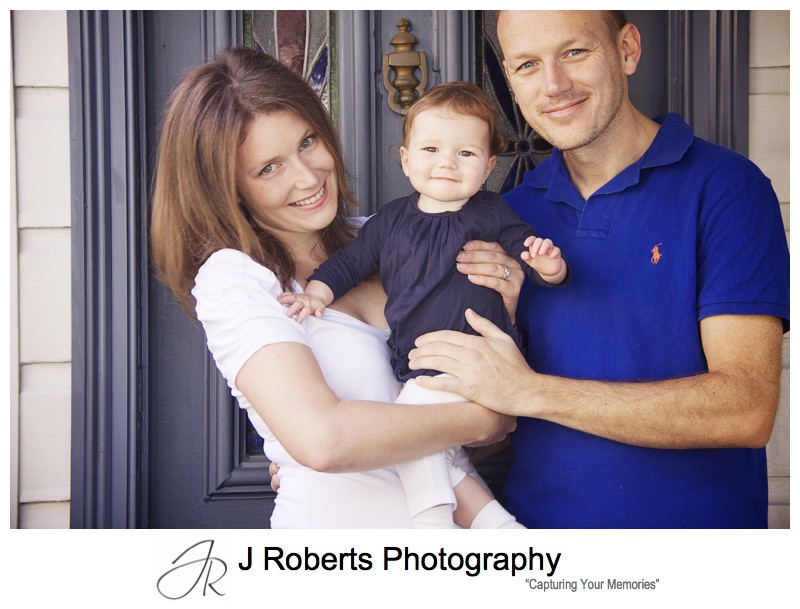 Portrait of family in front of family home balmain - family portrait photography sydney