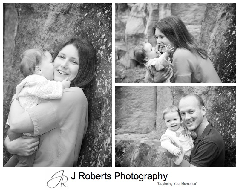B&W portraits of baby girl with parents - family portrait photography sydney