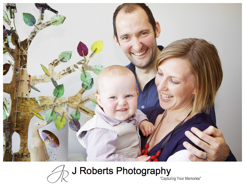 Family portrait with parents and little 11 month old boy - family portrait photography sydney