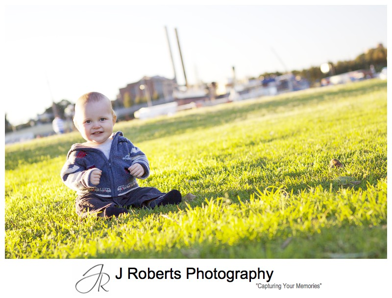 Portraits of a little boy in the park at sunset - family portrait photography sydney
