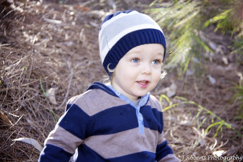 Little boy with winter beanie and smile - family portrait photography sydney