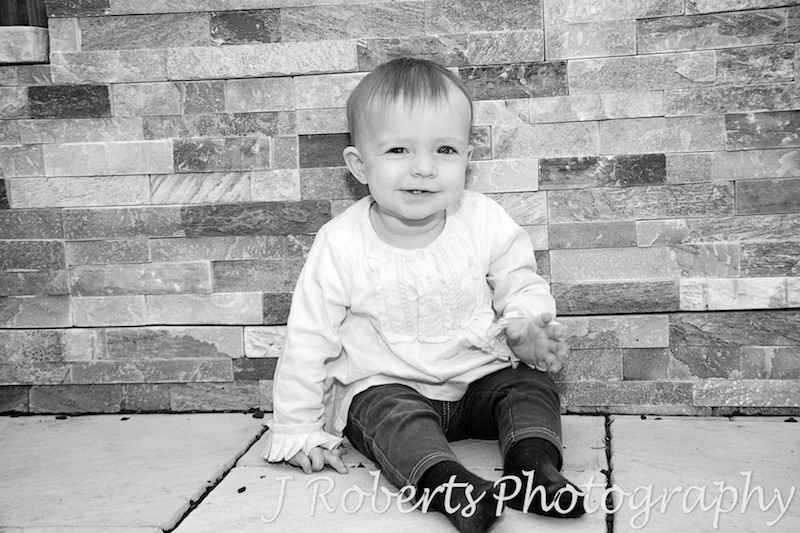 one year old baby portrait in b&W - family portrait photography sydney