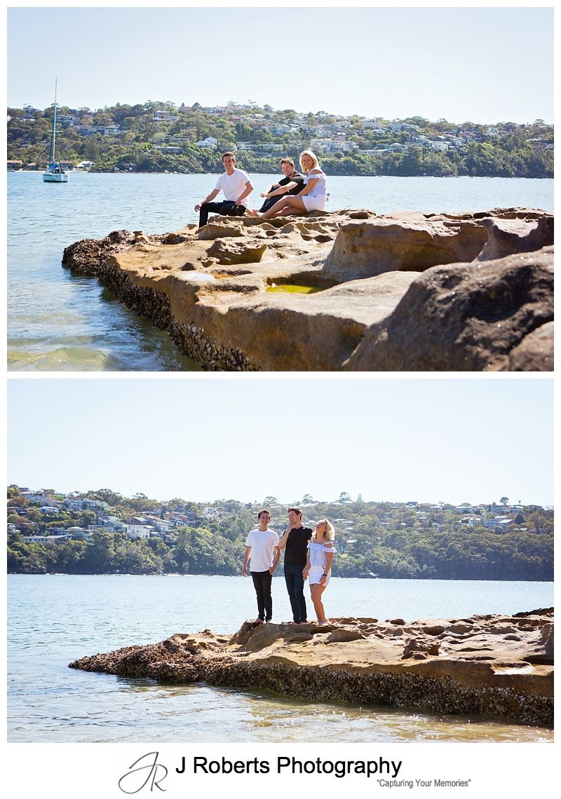 Family Portrait Photography Sydney Adult Siblings Portraits CHinamans Beach Mosman