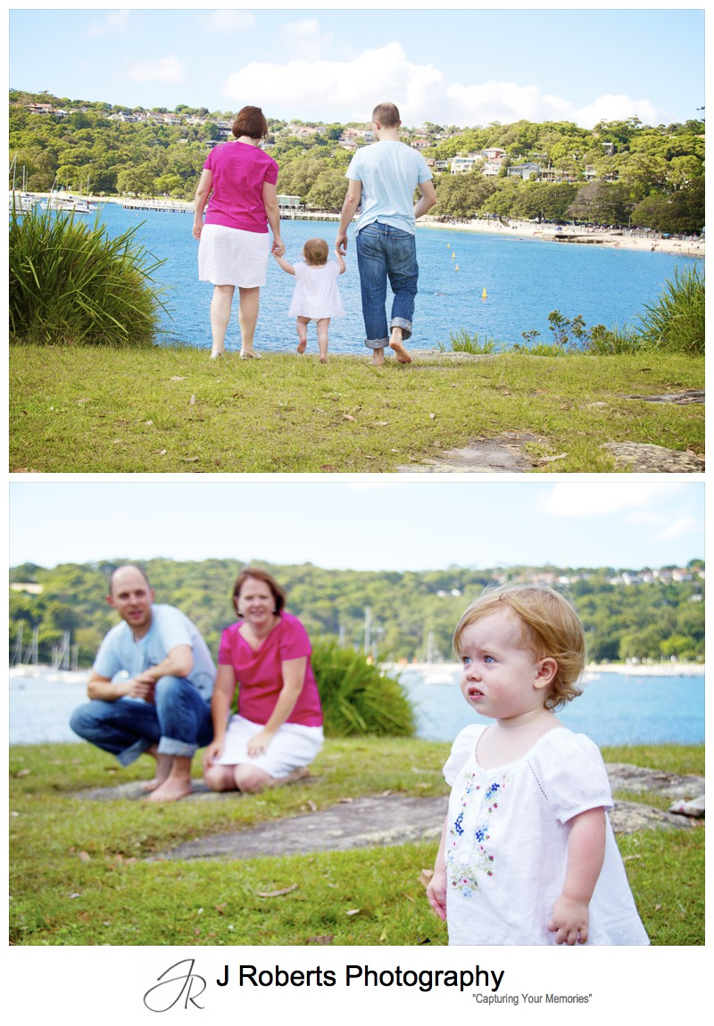 Family looking over balmoral beach - family portrait photography sydney