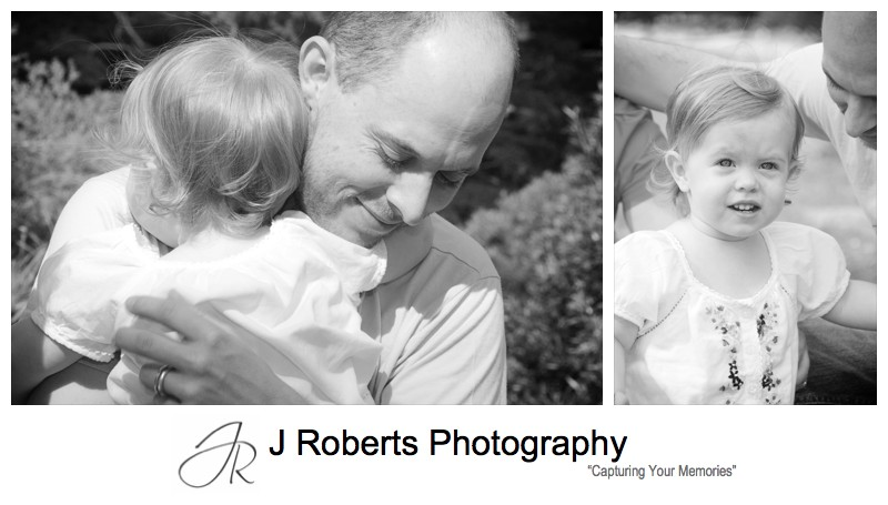Special hugs for daddy - family portrait photography sydney