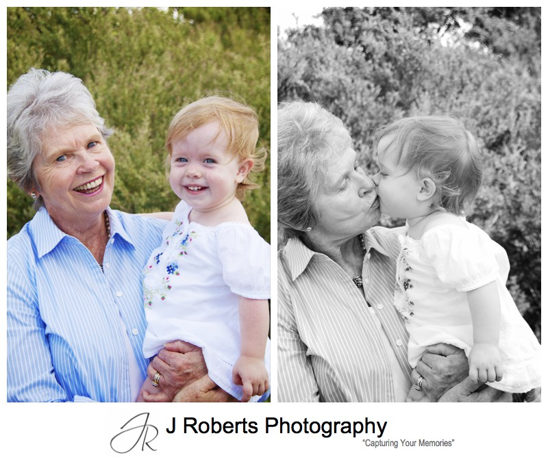 Portraits of a toddler with her grandma - family portrait photography sydney
