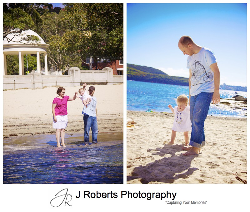 Toddler being swung through the water on balmoral beach - family portrait photography sydney