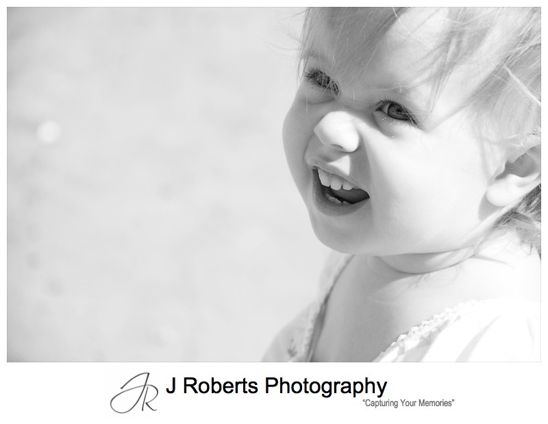 B&W portrait of a toddler - family portrait photography sydney