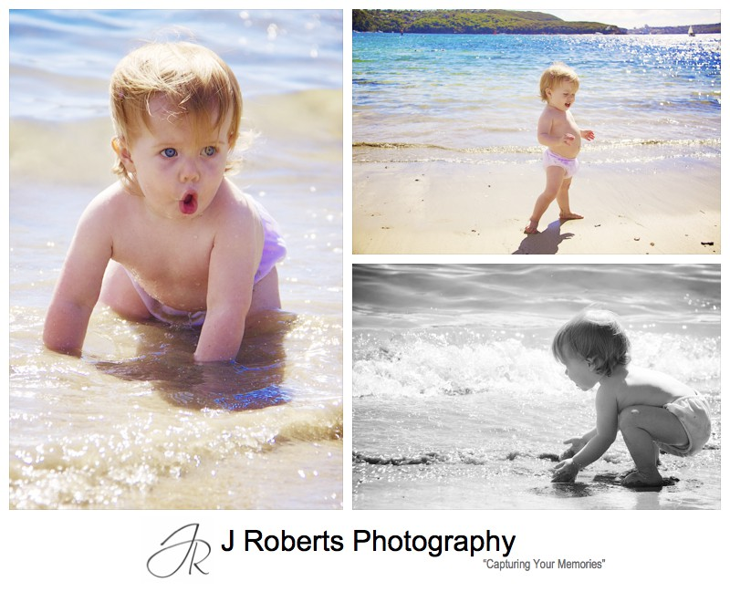 Baby girl playing in the water at Balmoral - family portrait photography sydney