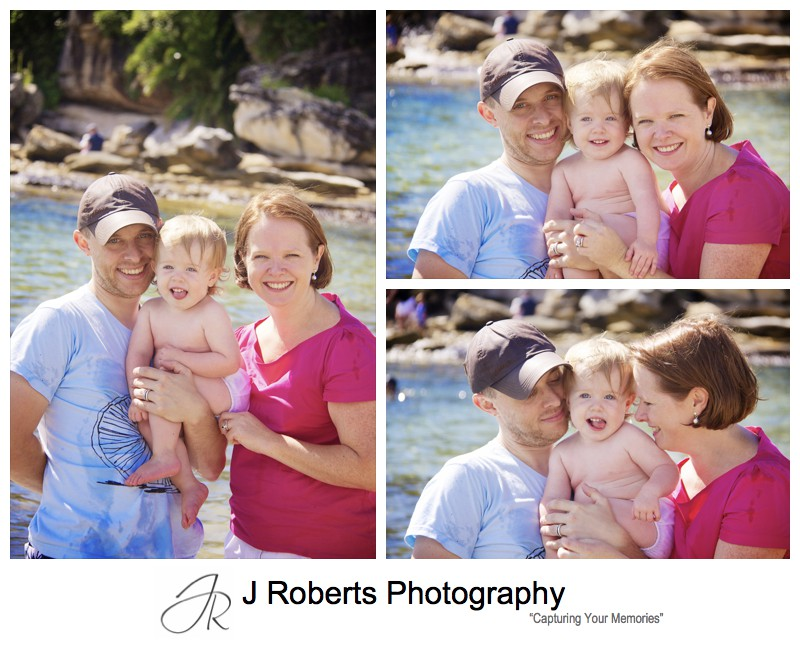 Portraits of a family of 3 at the beach - family portrait photography sydney