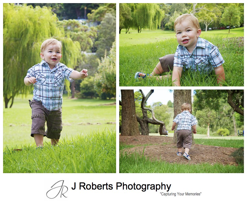 18 month old toddler playing in the park - family portrait photography sydney