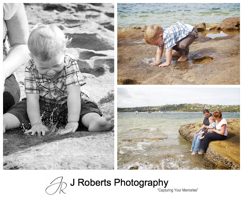Little boy playing in the rock pools at a Sydney beach - family portrait photography sydney