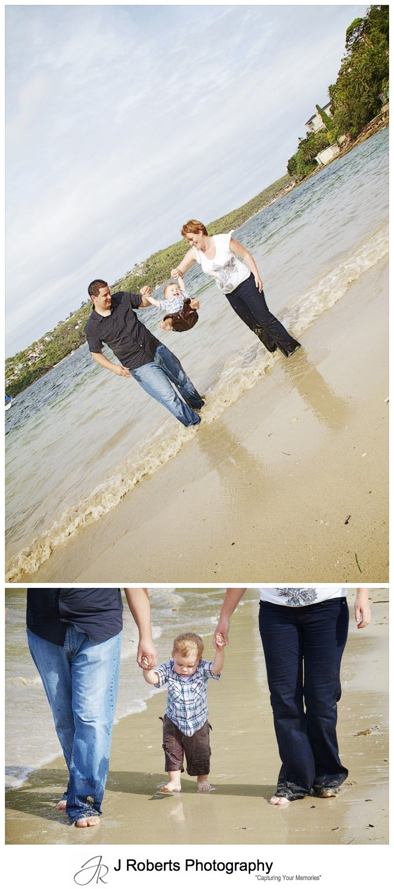 Little boy being swung by his parents at the beach - family portrait photography sydney