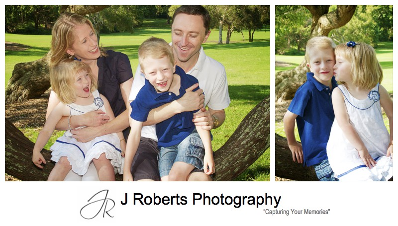Laughing family of four portrait - family portrait photography sydney