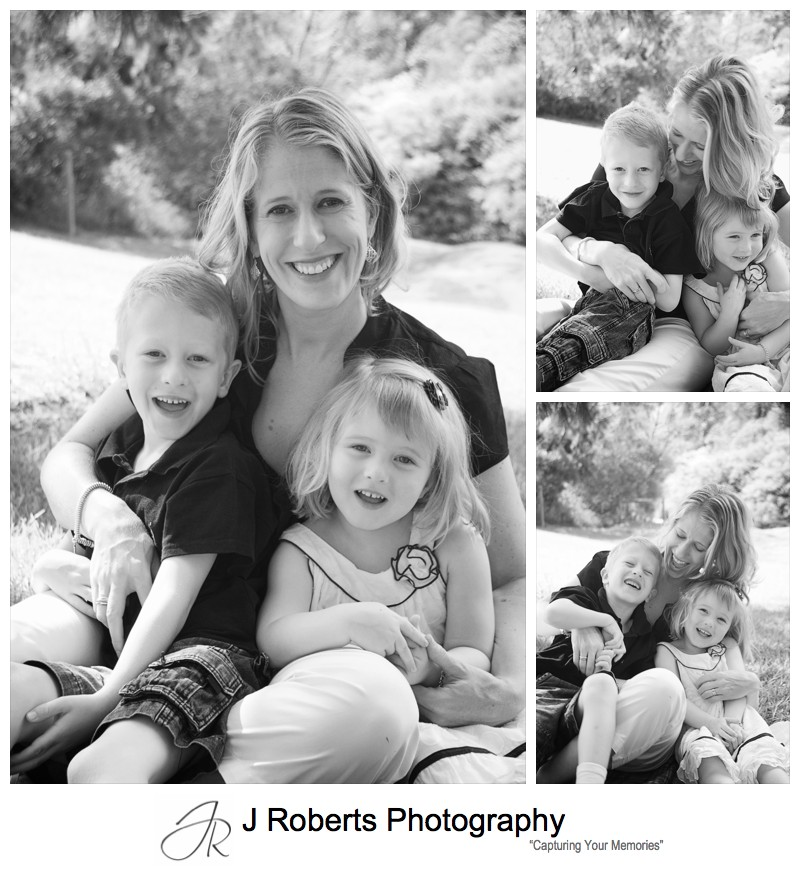 Mother with her 2 children portrait - family portrait photography sydney