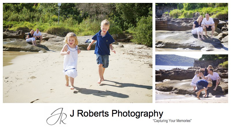 Children running on Chinaman's Beach Mosman - family portrait photography sydney