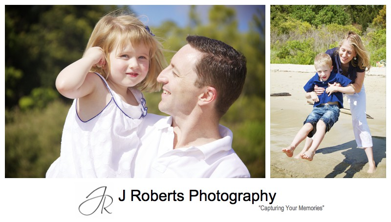 little girls listening to a shell at the beach - family portrait photography sydney