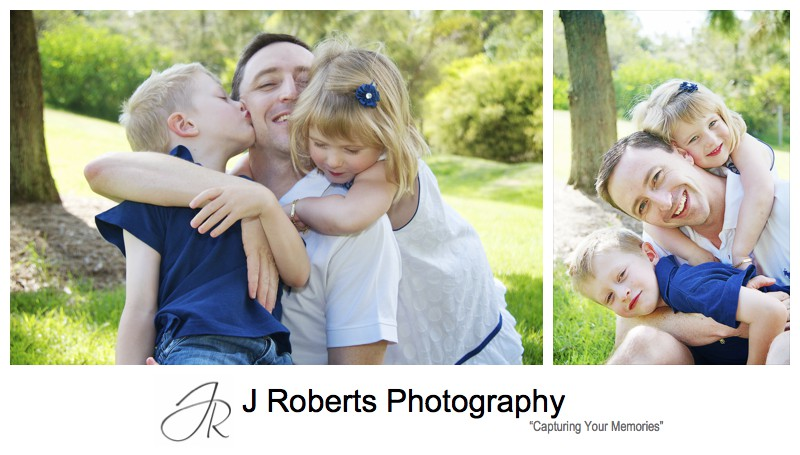 Family of father and his 2 children - family portrait photography sydney