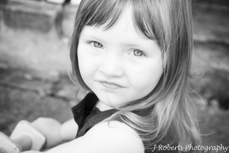 B&W attitude of a 3 year old girl - family portrait photography sydney