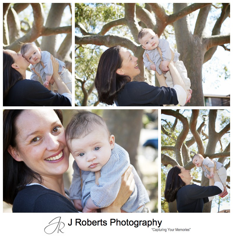 Mum and her baby girl in front of a gum tree - killarney heights family portrait photography