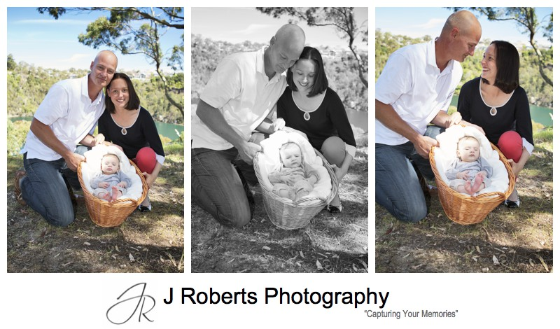 Parents with a baby girl in a basket - sydney family portrait photography