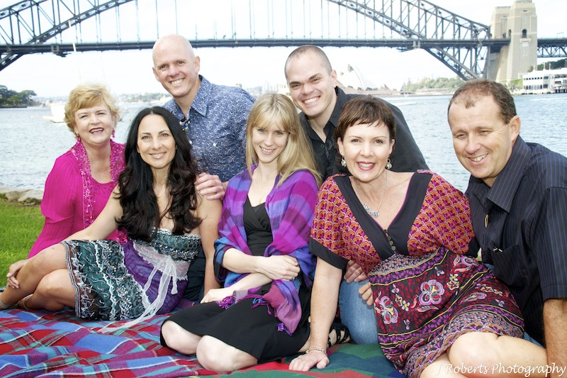 siblings with their partners and mother - family portrait photography sydney