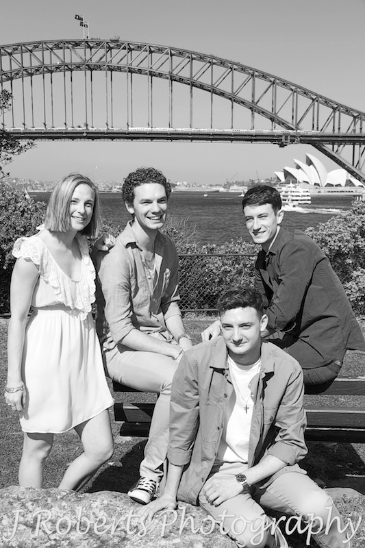 sibling photo with Harbour Bridge in background. Black and White. Family Portrait Photography Sydney