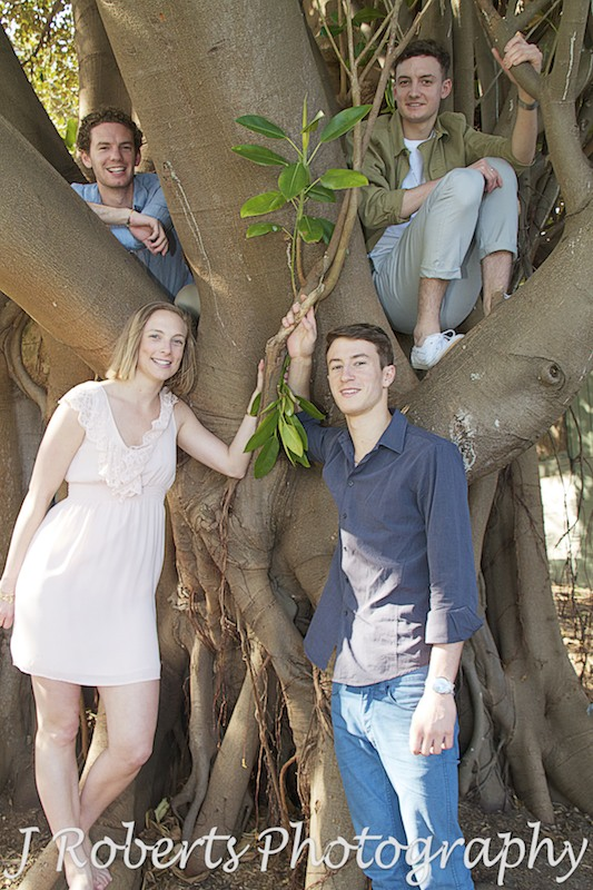 photo of siblings sitting in a tree - Family Portrait Photography Sydney