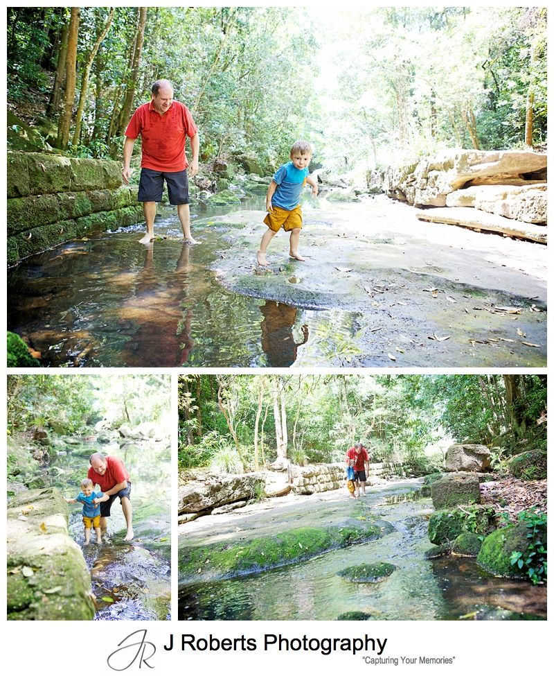 Family Portrait Photography Sydney Docu Style Naremburn Flat Rock Track creek