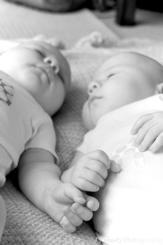 sleeping twins B&W - family portrait photography sydney
