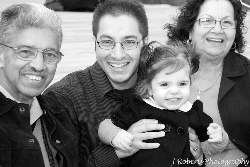 B&W 3 generations of one family - family portrait photography sydney