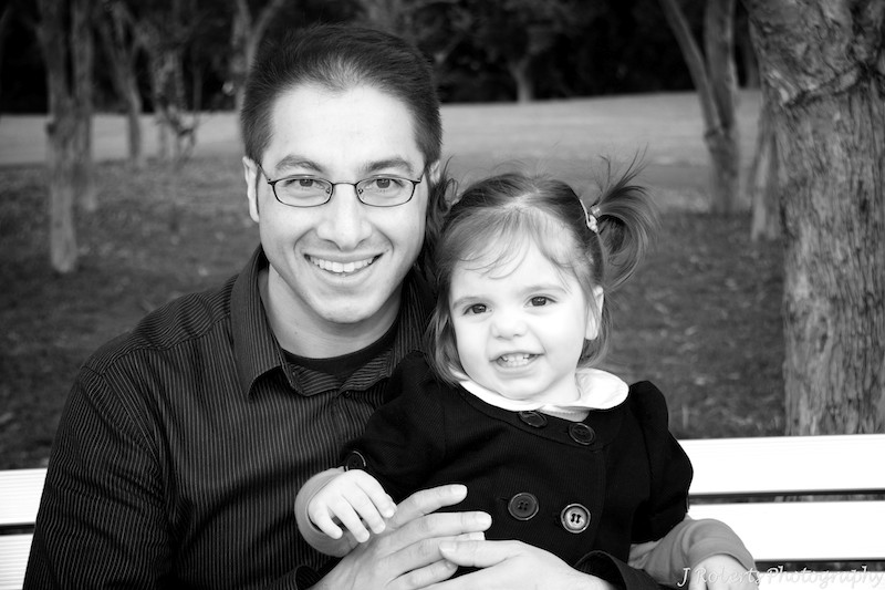 B&W father and daughter - family portrait photography sydney