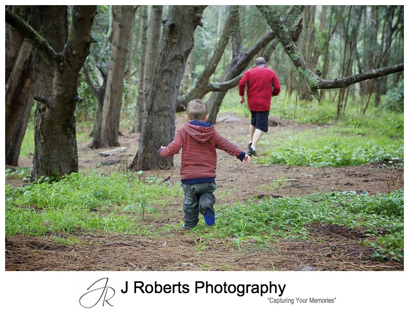 Family Portrait Photography Sydney Narrabeen Lakes Splashing in Puddles