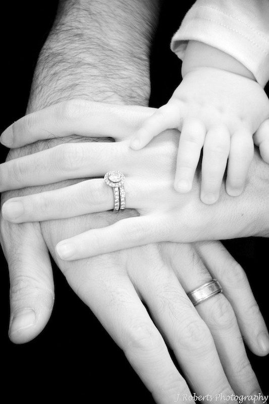 Family of 3 hands - family portrait photography sydney