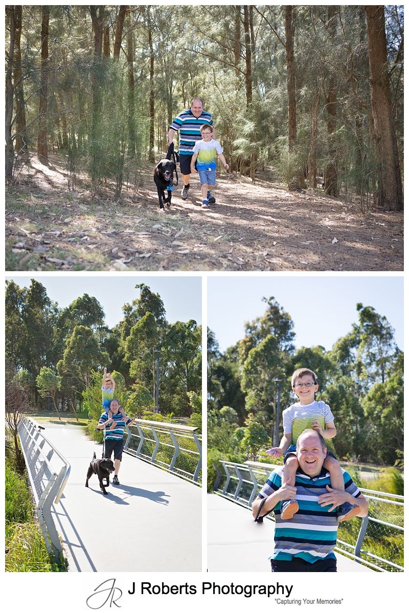 Family Portrait Photography Sydney on location at Sydney Park Alexandria with family dog