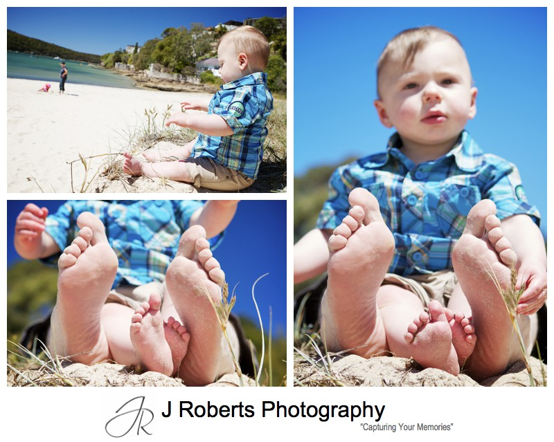 Little boy playing in sand dunes with bear feet - sydney family portrait photographer