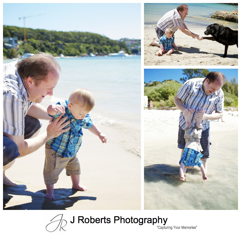 Little boy playing at the beach with his Dad - sydney family portrait photographer