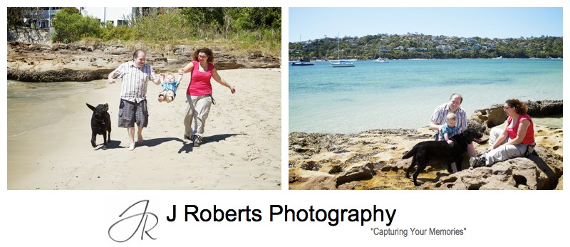Family having fun at the beach with their dog - sydney family portrait photographer