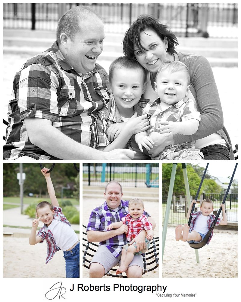Family portraits in the playground at Clifton Gardens Mosman - sydney family portrait photographer