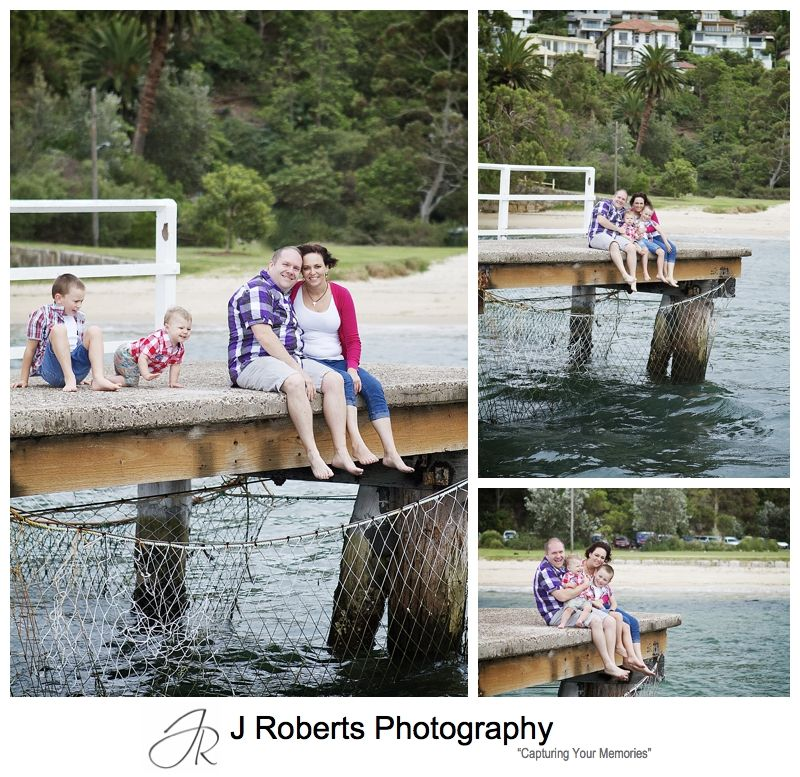 Family sitting on the pier at Clifton Gardens mosman - sydney family portrait photographer